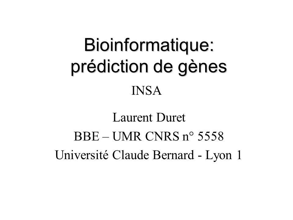 Bioinformatique: prédiction de gènes