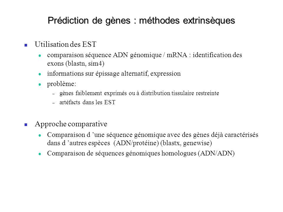 Prédiction de gènes : méthodes extrinsèques
