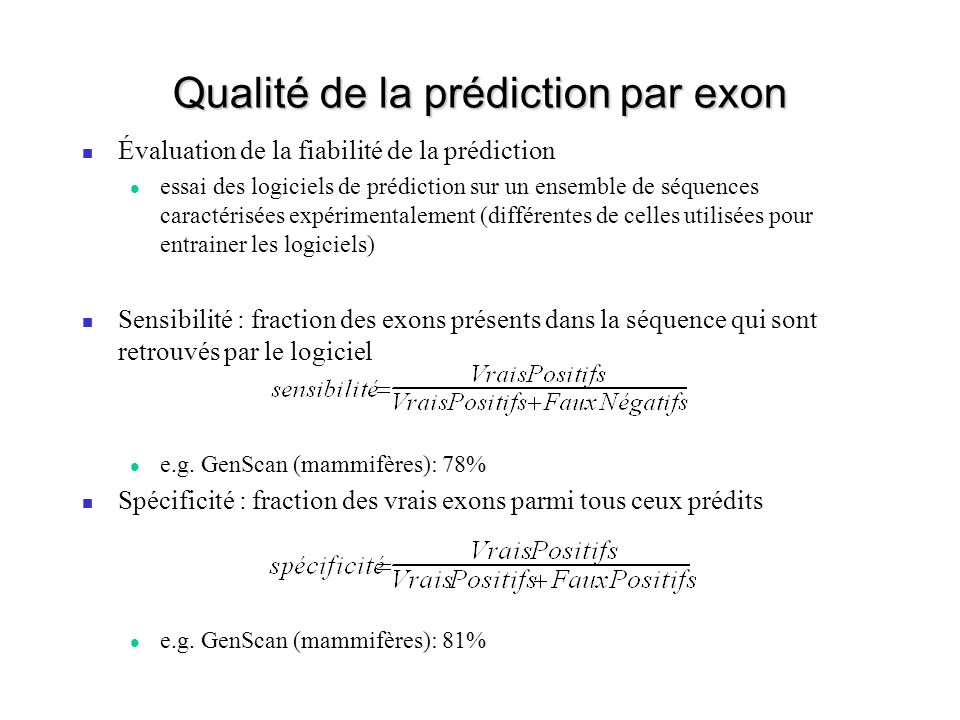 Qualité de la prédiction par exon