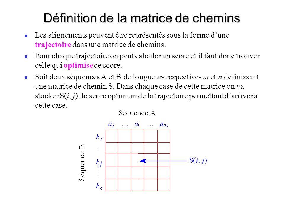Définition de la matrice de chemins