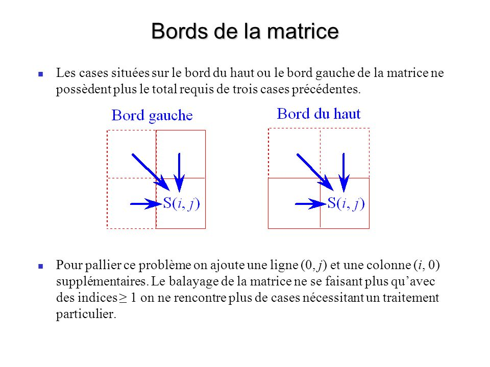 Bords de la matrice