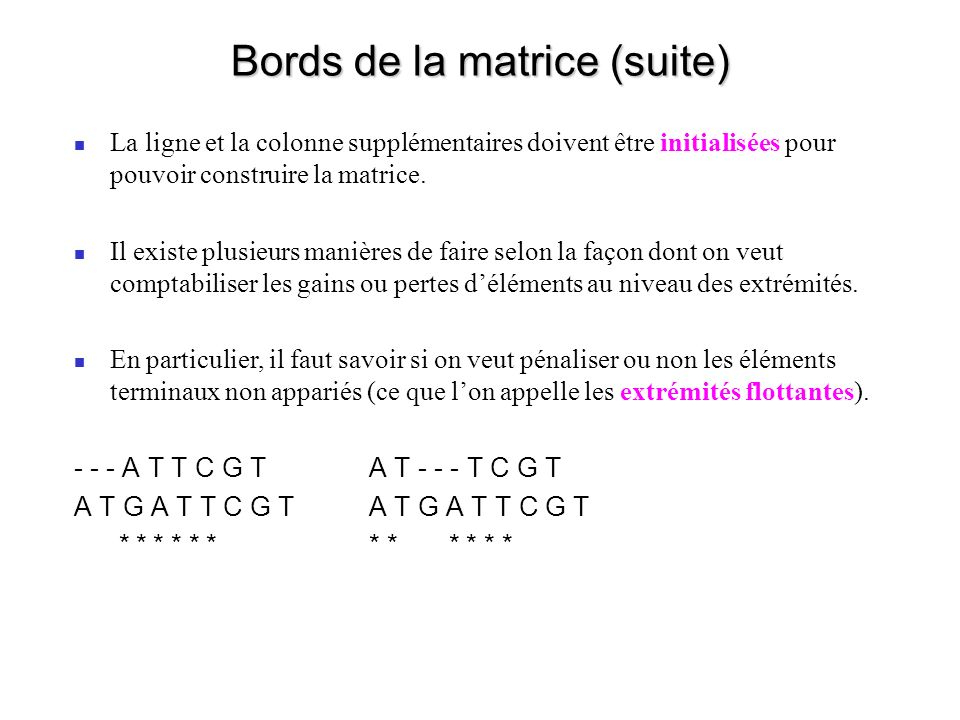 Bords de la matrice (suite)