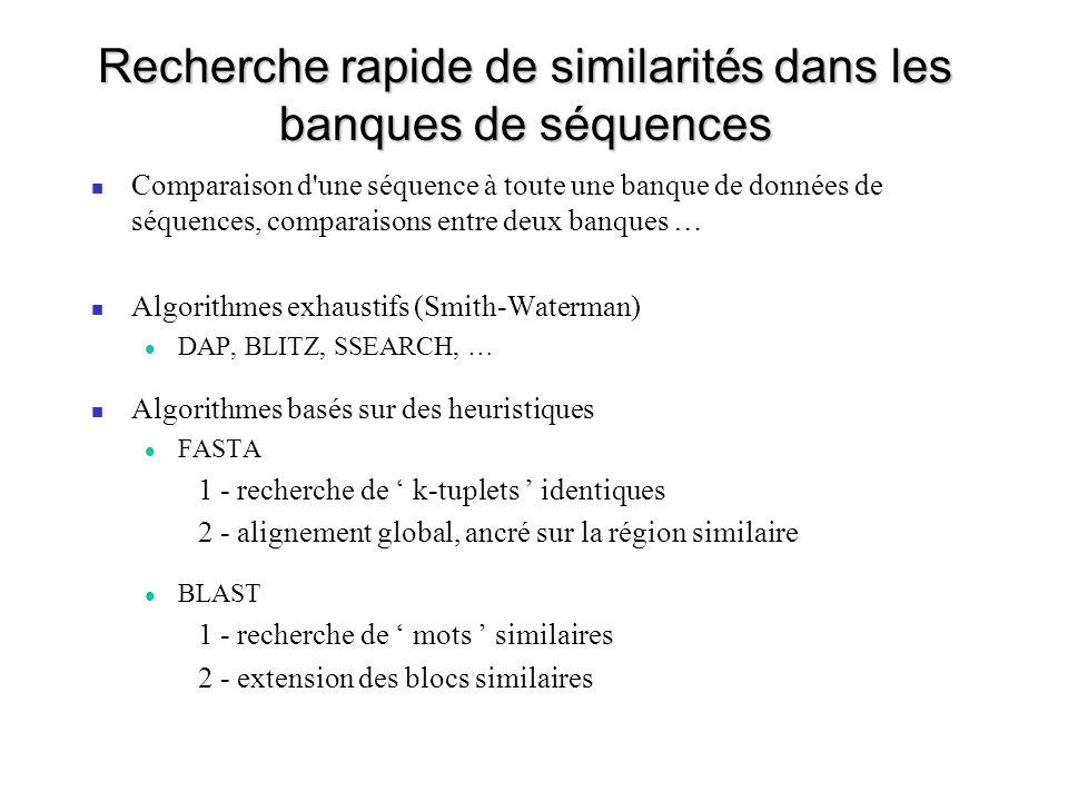 Recherche rapide de similarités dans les banques de séquences