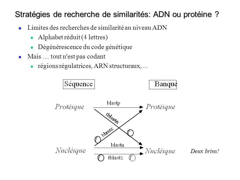 Stratégies de recherche de similarités: ADN ou protéine