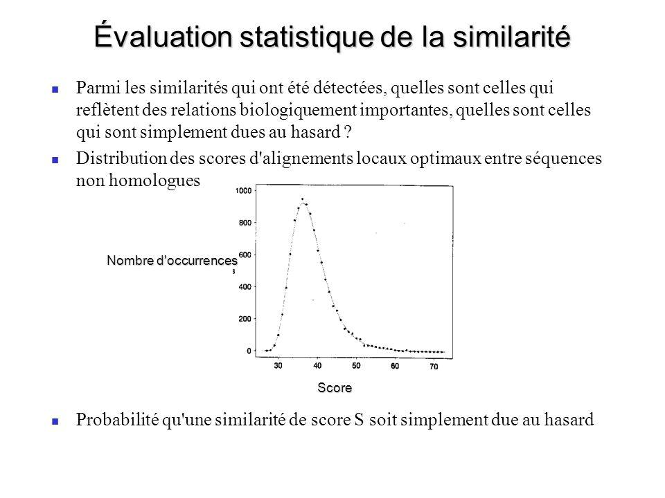 Évaluation statistique de la similarité