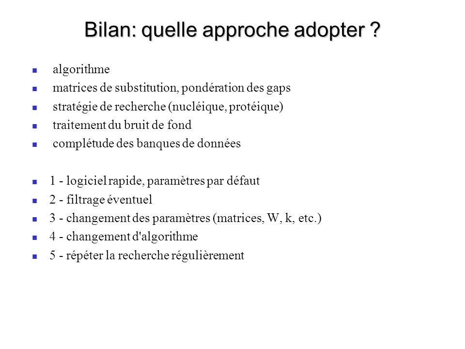 Bilan: quelle approche adopter
