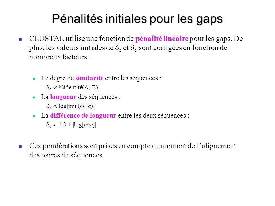 Pénalités initiales pour les gaps