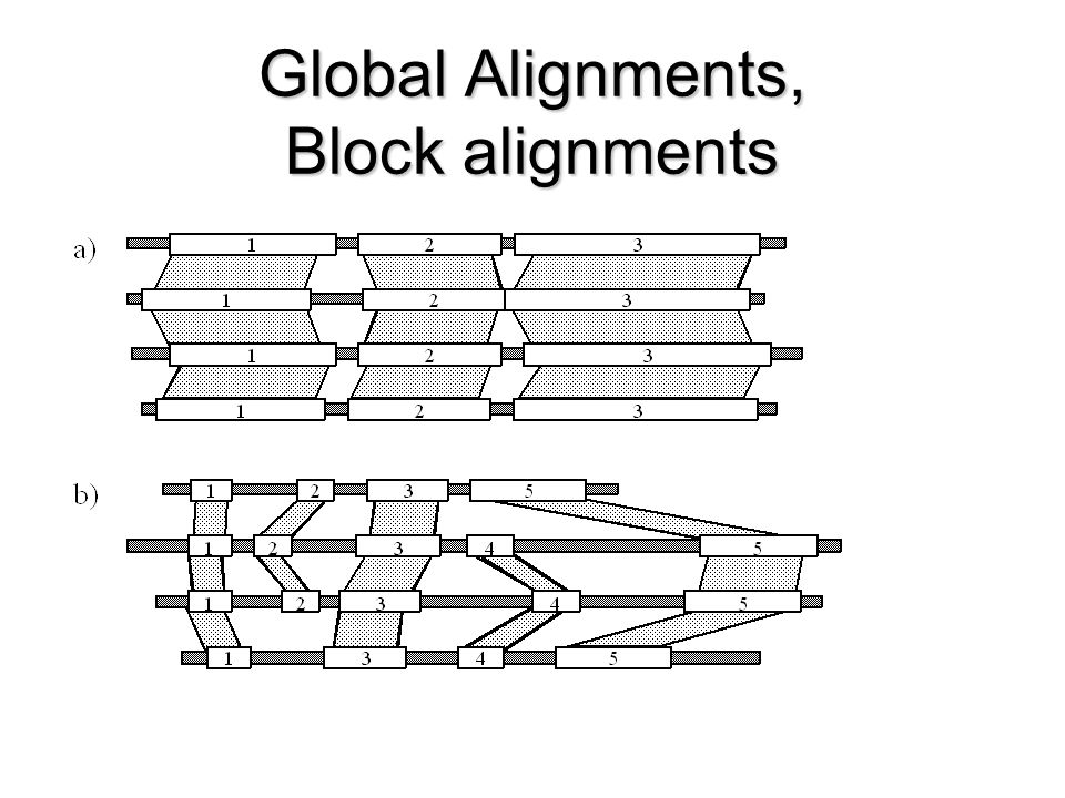 Global Alignments, Block alignments