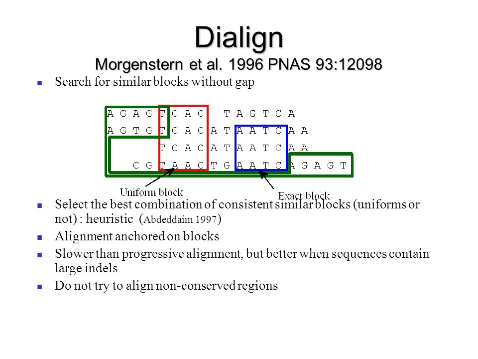 Dialign Morgenstern et al PNAS 93:12098
