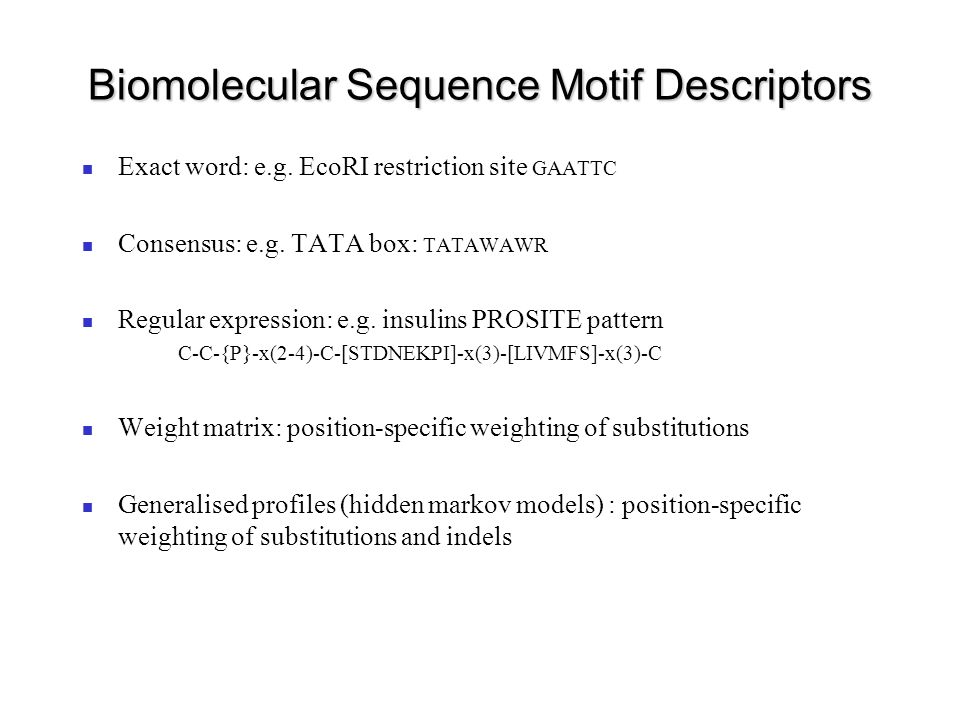 Biomolecular Sequence Motif Descriptors