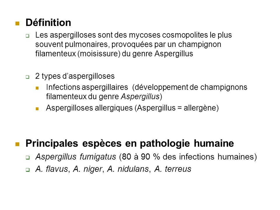 Principales espèces en pathologie humaine