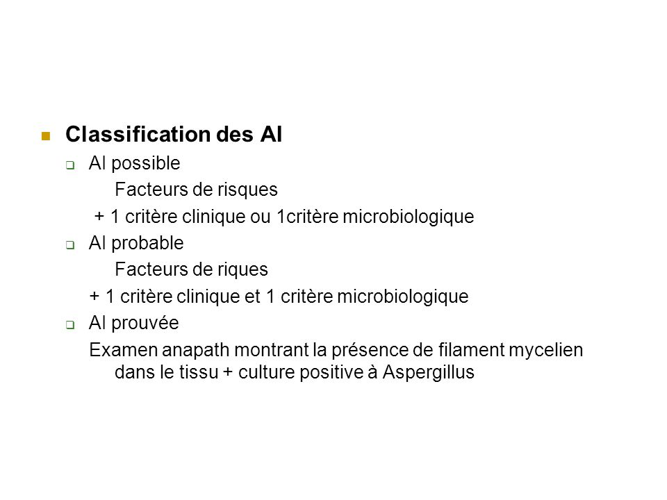 Classification des AI AI possible Facteurs de risques