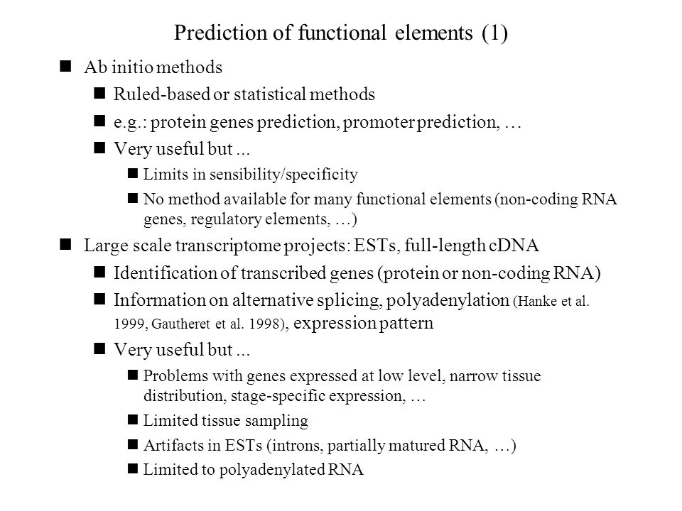 Prediction of functional elements (1)