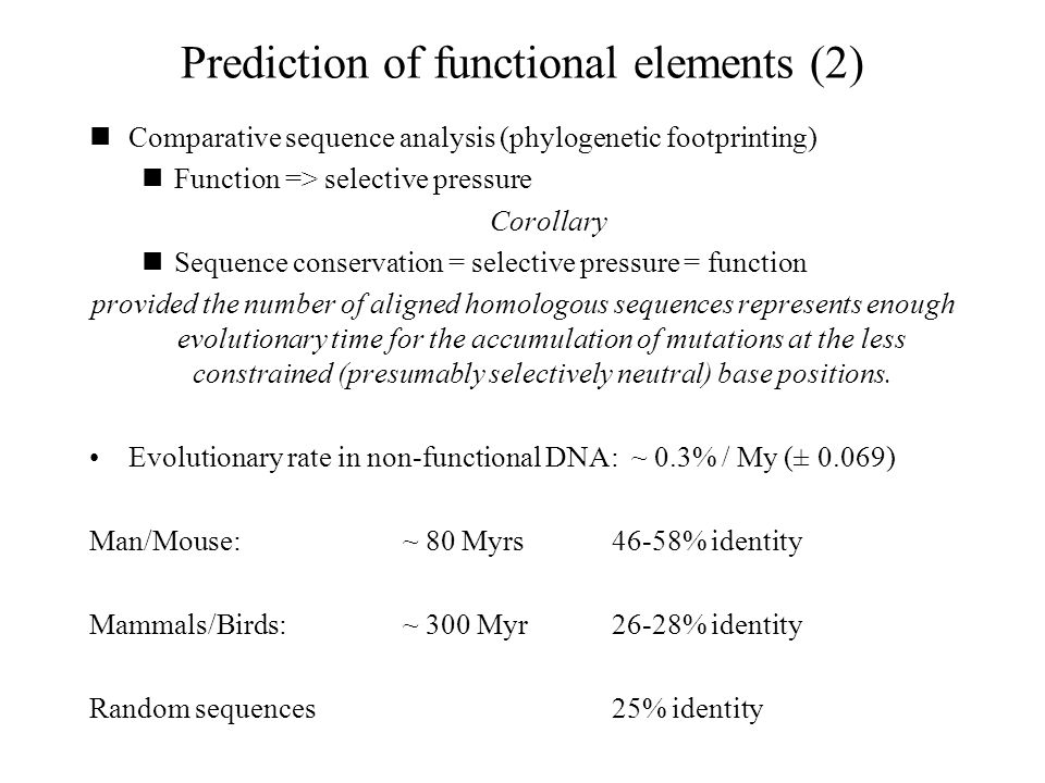 Prediction of functional elements (2)