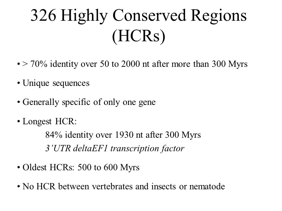 326 Highly Conserved Regions (HCRs)