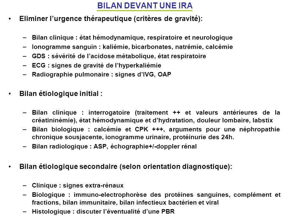 BILAN DEVANT UNE IRA Eliminer l'urgence thérapeutique (critères de gravité): Bilan clinique : état hémodynamique, respiratoire et neurologique.