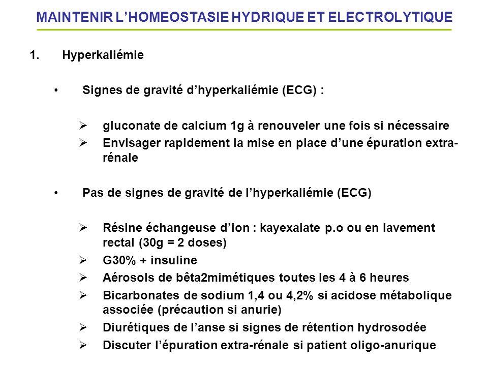 MAINTENIR L'HOMEOSTASIE HYDRIQUE ET ELECTROLYTIQUE