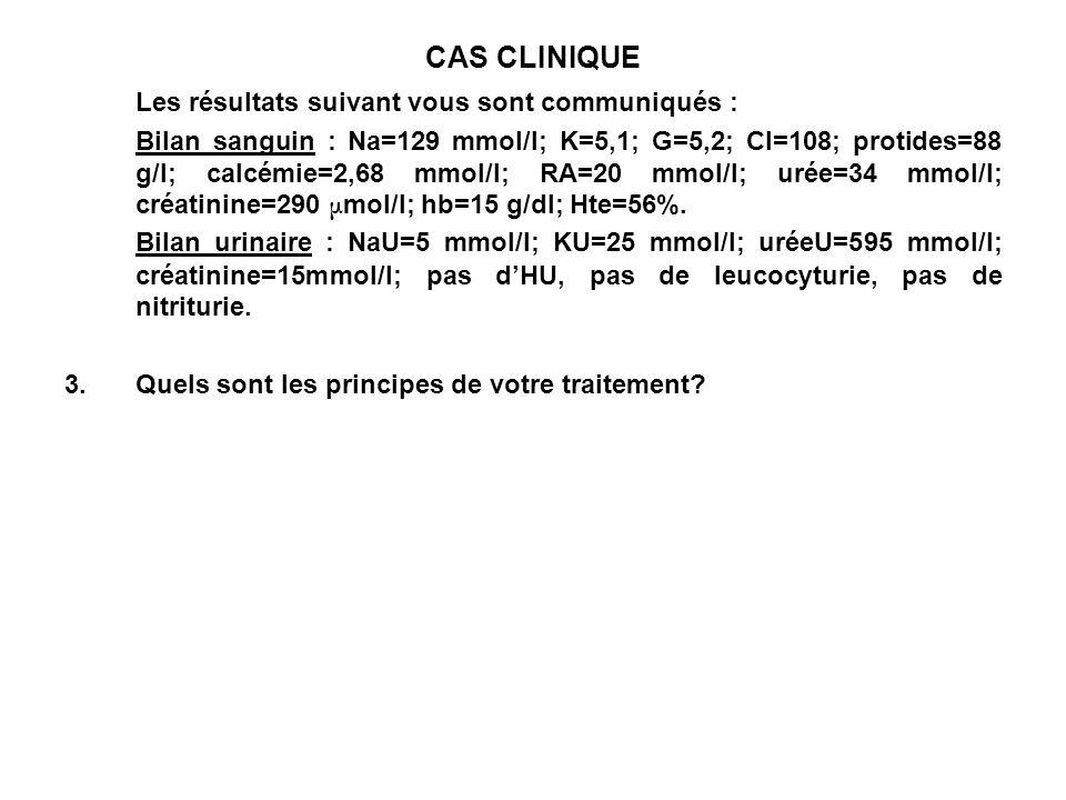 CAS CLINIQUE Les résultats suivant vous sont communiqués :