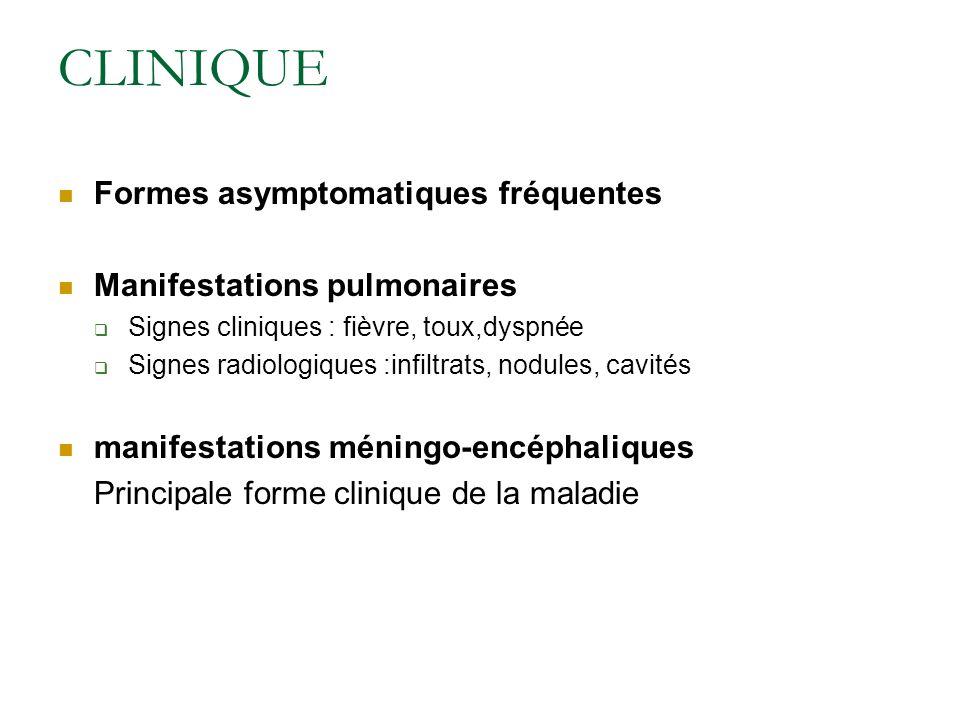 CLINIQUE Formes asymptomatiques fréquentes Manifestations pulmonaires