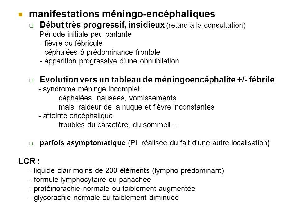 manifestations méningo-encéphaliques