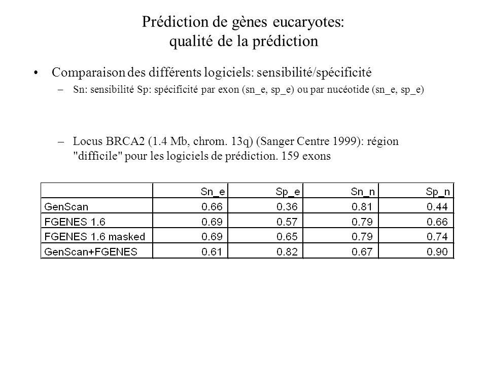 Prédiction de gènes eucaryotes: qualité de la prédiction