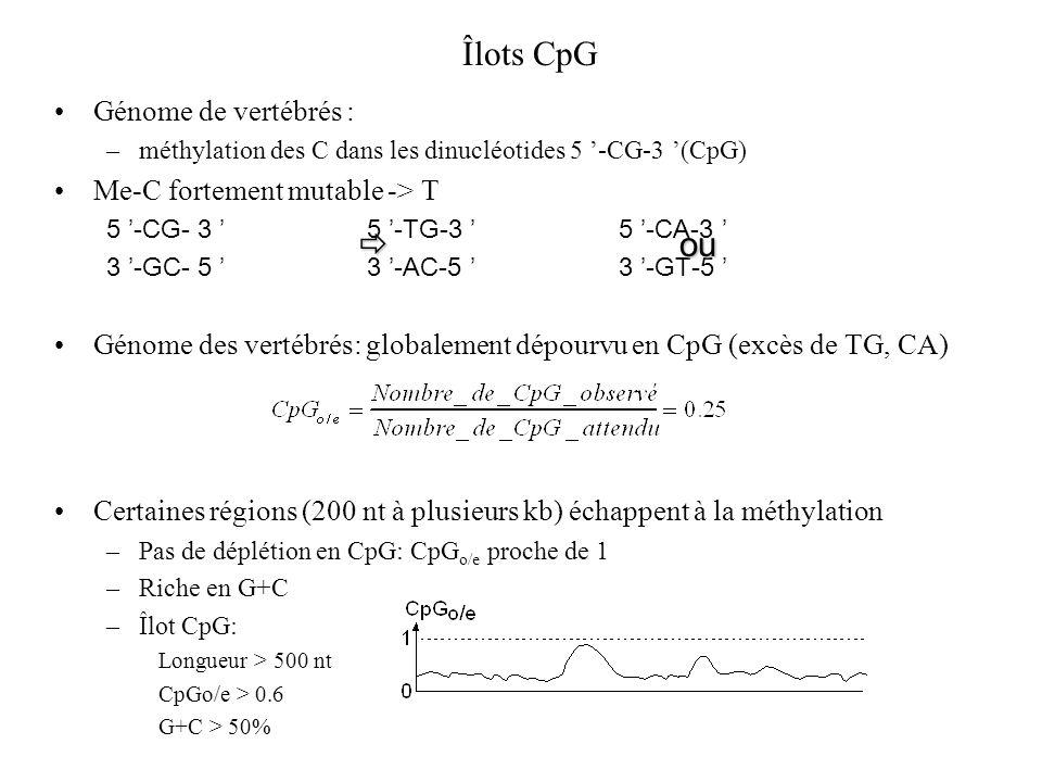 Îlots CpG  ou Génome de vertébrés : Me-C fortement mutable -> T
