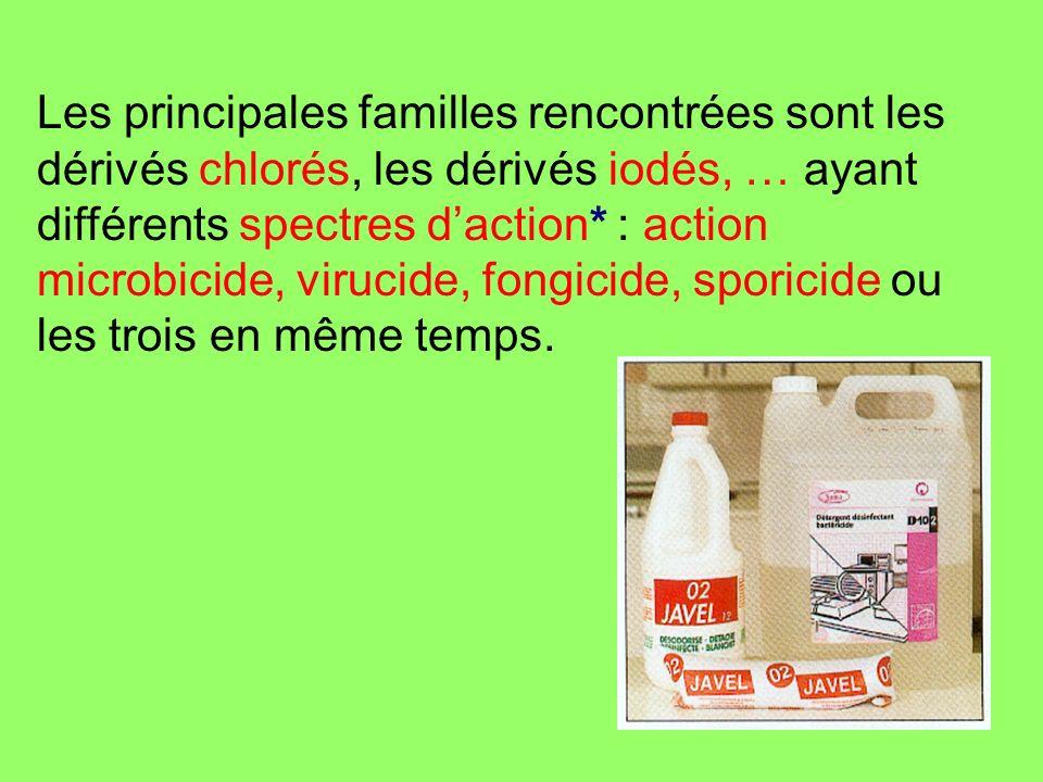 Les principales familles rencontrées sont les dérivés chlorés, les dérivés iodés, … ayant différents spectres d'action* : action microbicide, virucide, fongicide, sporicide ou les trois en même temps.