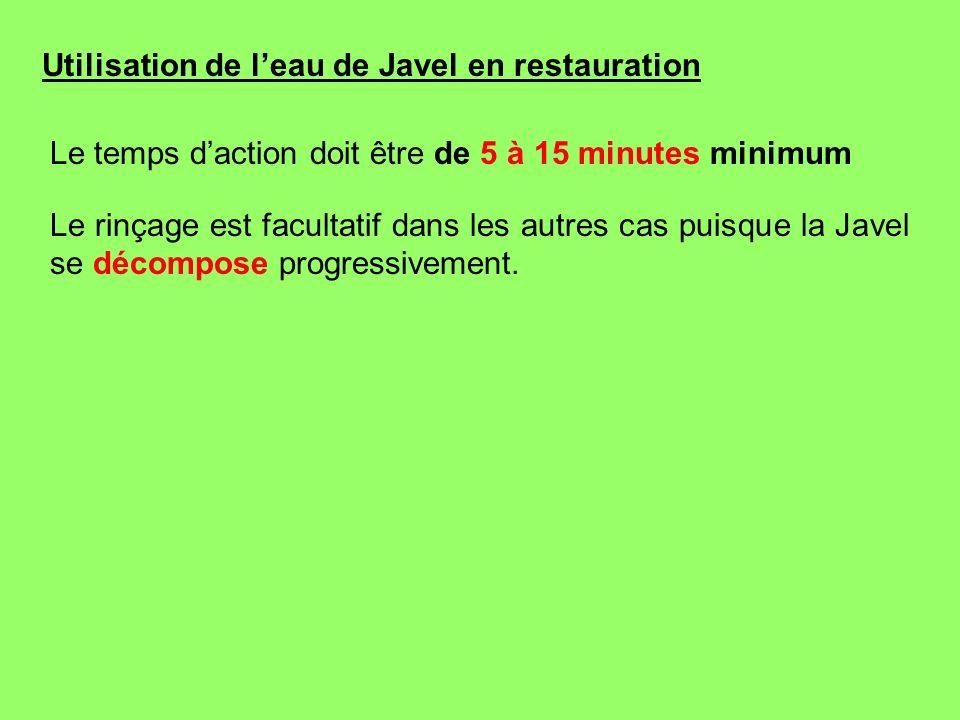 Utilisation de l'eau de Javel en restauration