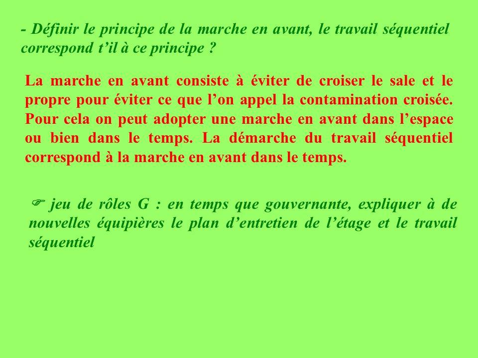 - Définir le principe de la marche en avant, le travail séquentiel correspond t'il à ce principe