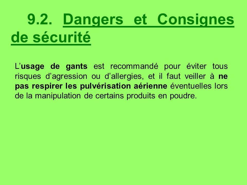 9.2. Dangers et Consignes de sécurité
