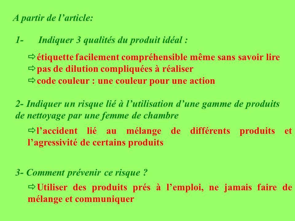 A partir de l'article: 1- Indiquer 3 qualités du produit idéal :