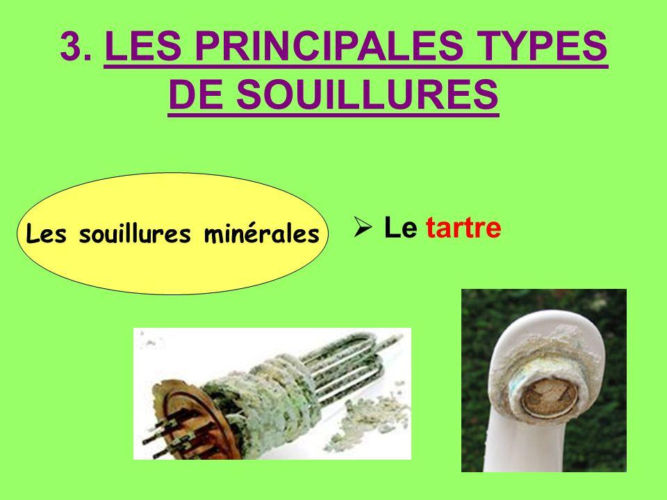 3. LES PRINCIPALES TYPES DE SOUILLURES Les souillures minérales