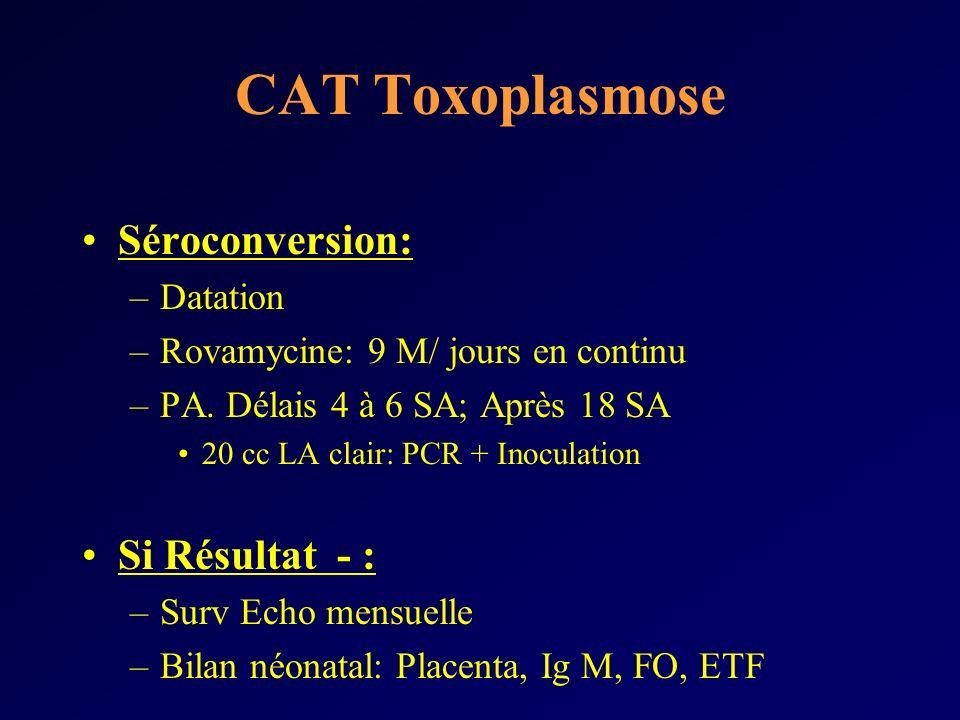 CAT Toxoplasmose Séroconversion: Si Résultat - : Datation