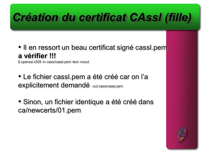 Création du certificat CAssl (fille)