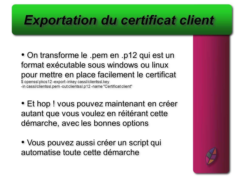 Exportation du certificat client
