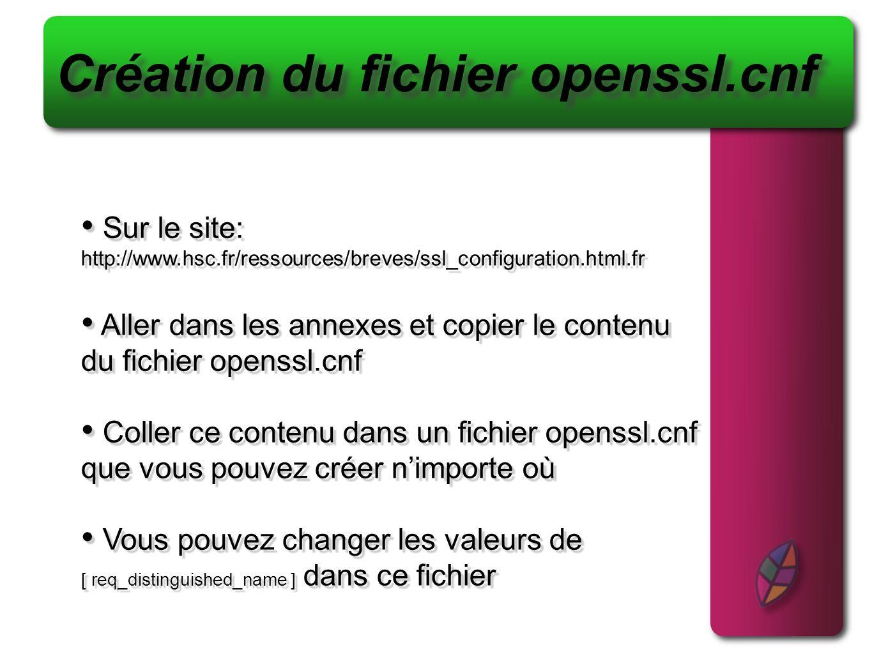 Création du fichier openssl.cnf