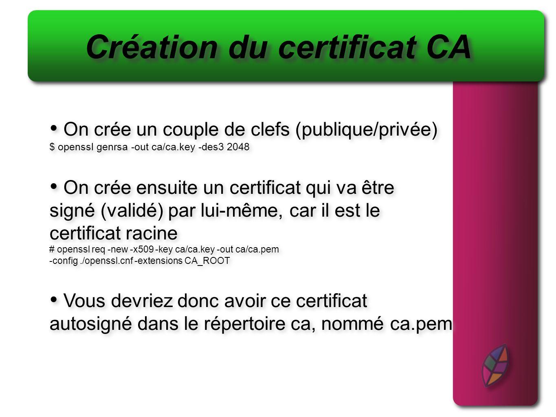 Création du certificat CA