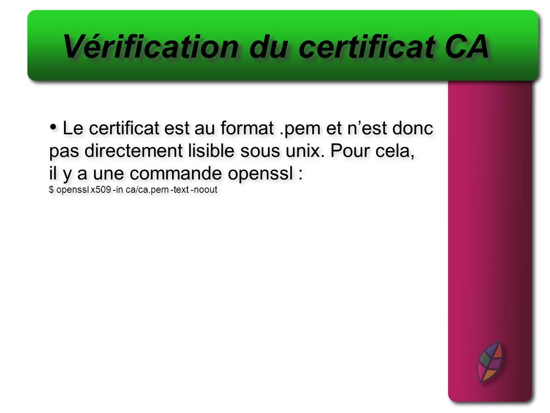 Vérification du certificat CA