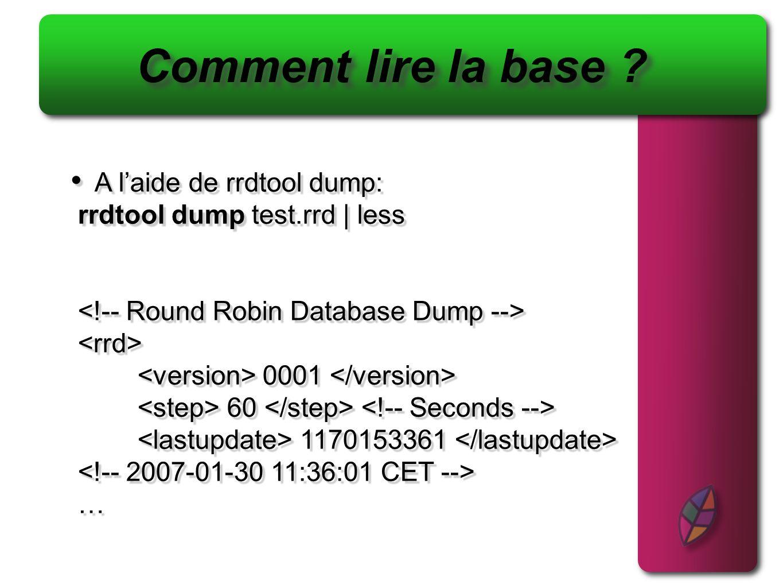 Comment lire la base A l'aide de rrdtool dump: