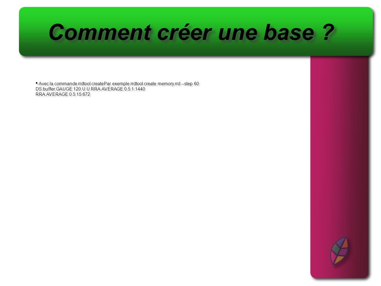 Comment créer une base Avec la commande rrdtool createPar exemple:rrdtool create memory.rrd --step 60.