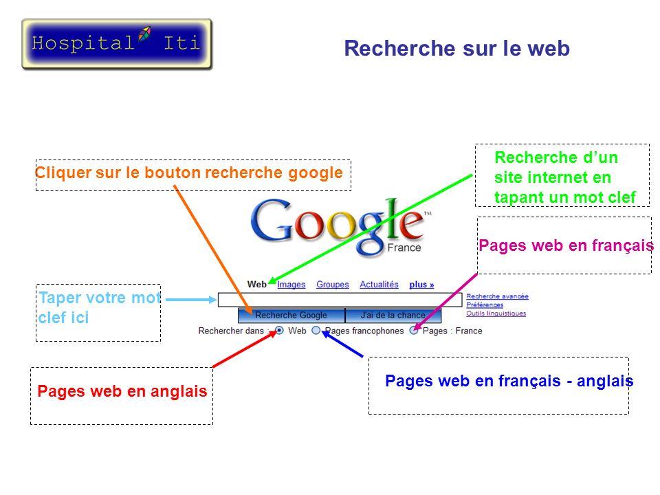 Recherche sur le web Recherche d'un site internet en tapant un mot clef. Cliquer sur le bouton recherche google.