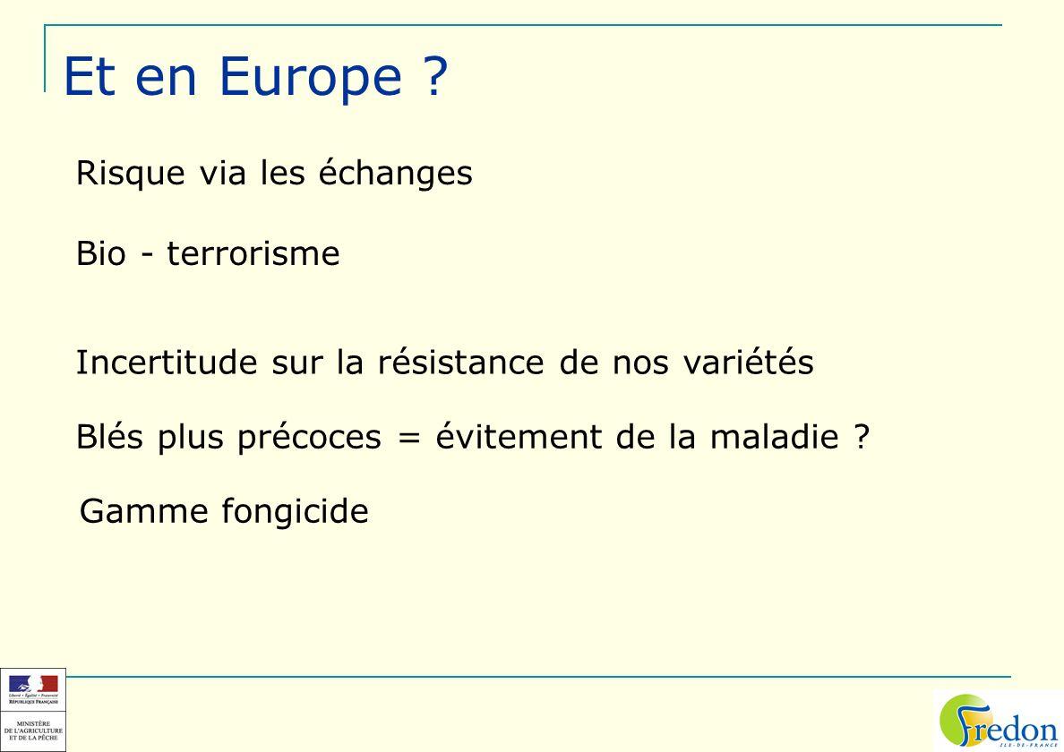 Et en Europe Risque via les échanges Bio - terrorisme