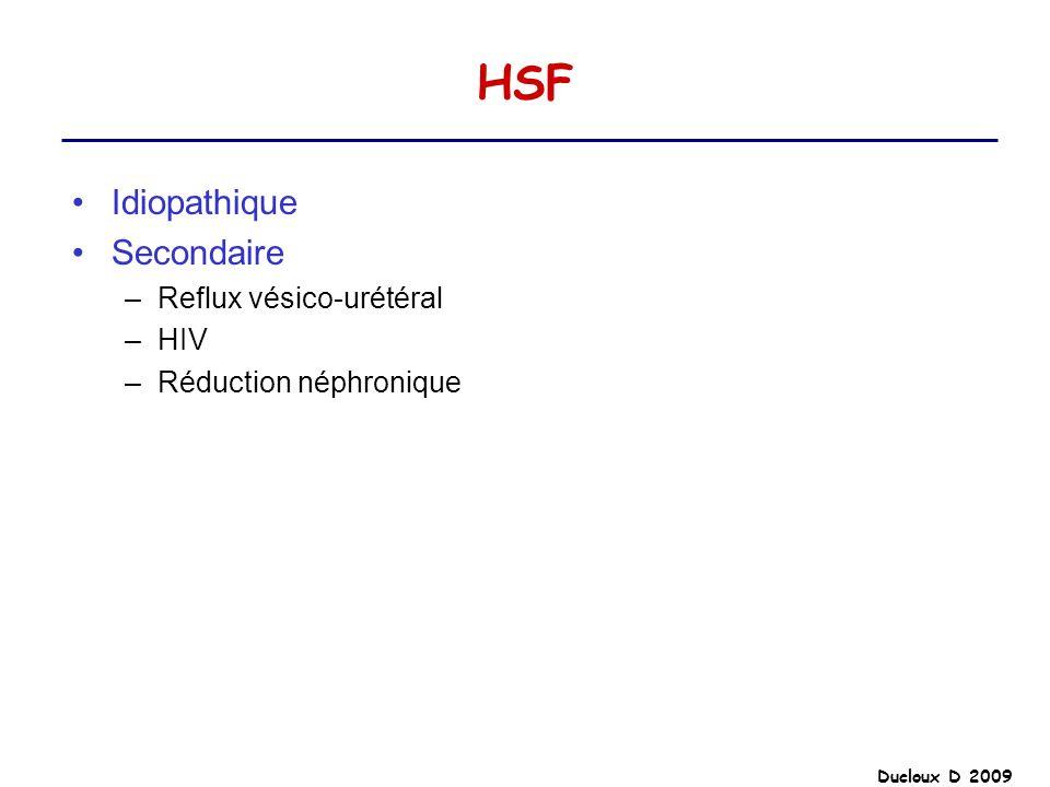 HSF Idiopathique Secondaire Reflux vésico-urétéral HIV