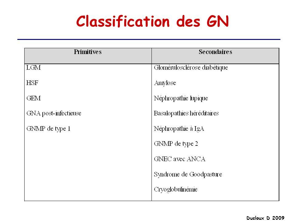 Classification des GN