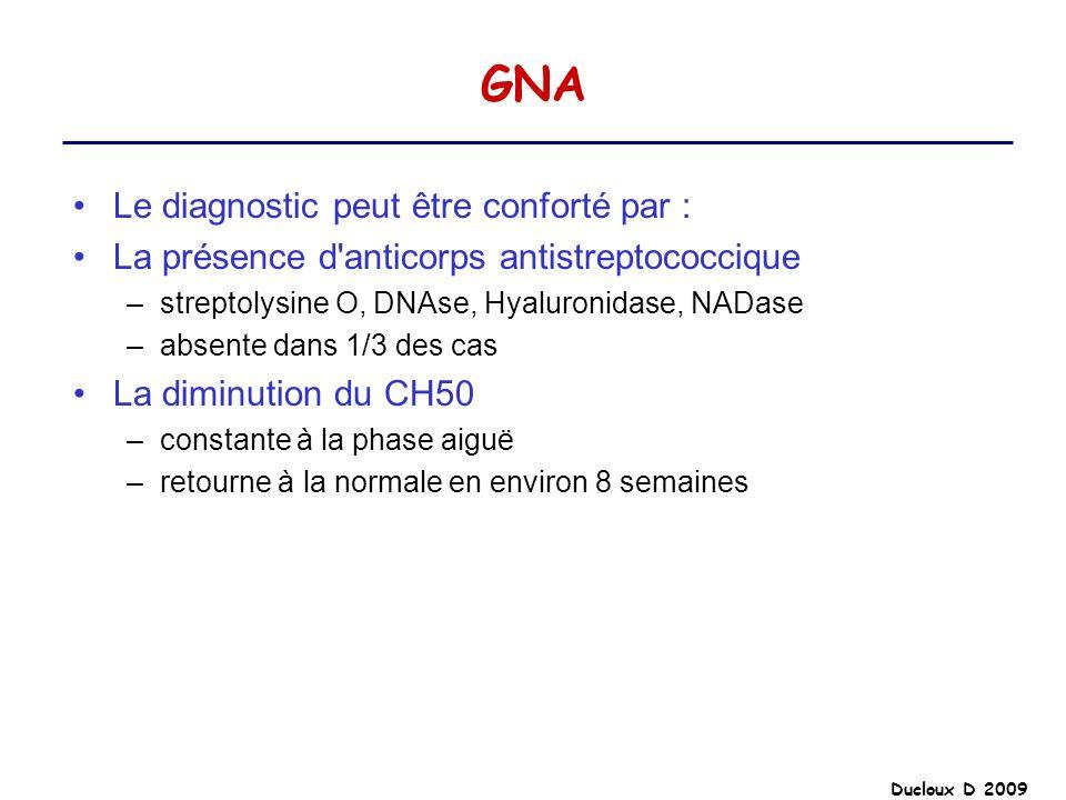 GNA Le diagnostic peut être conforté par :