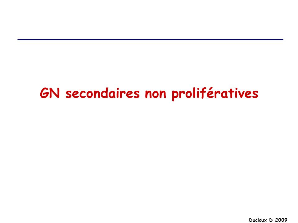 GN secondaires non prolifératives
