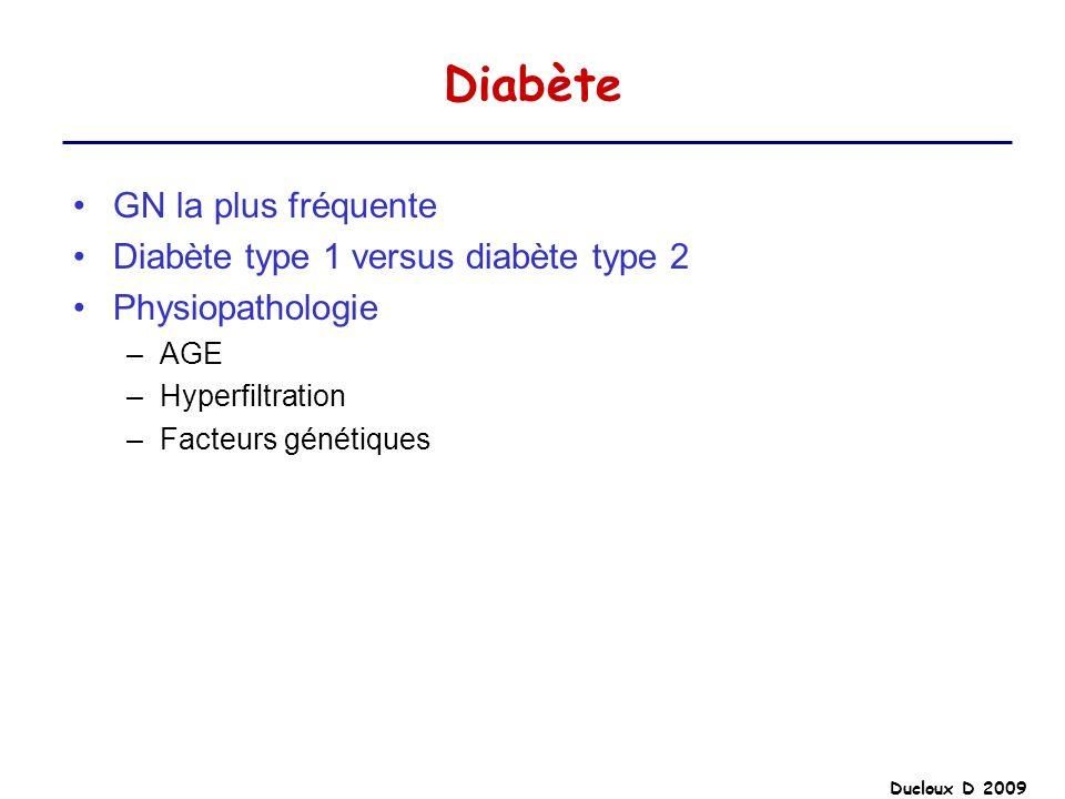 Diabète GN la plus fréquente Diabète type 1 versus diabète type 2