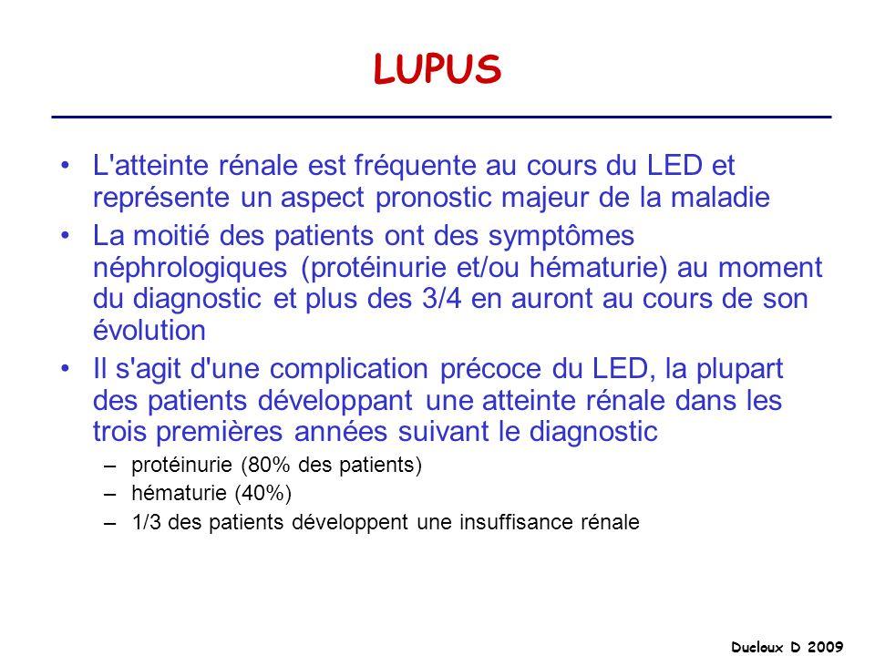 LUPUS L atteinte rénale est fréquente au cours du LED et représente un aspect pronostic majeur de la maladie.