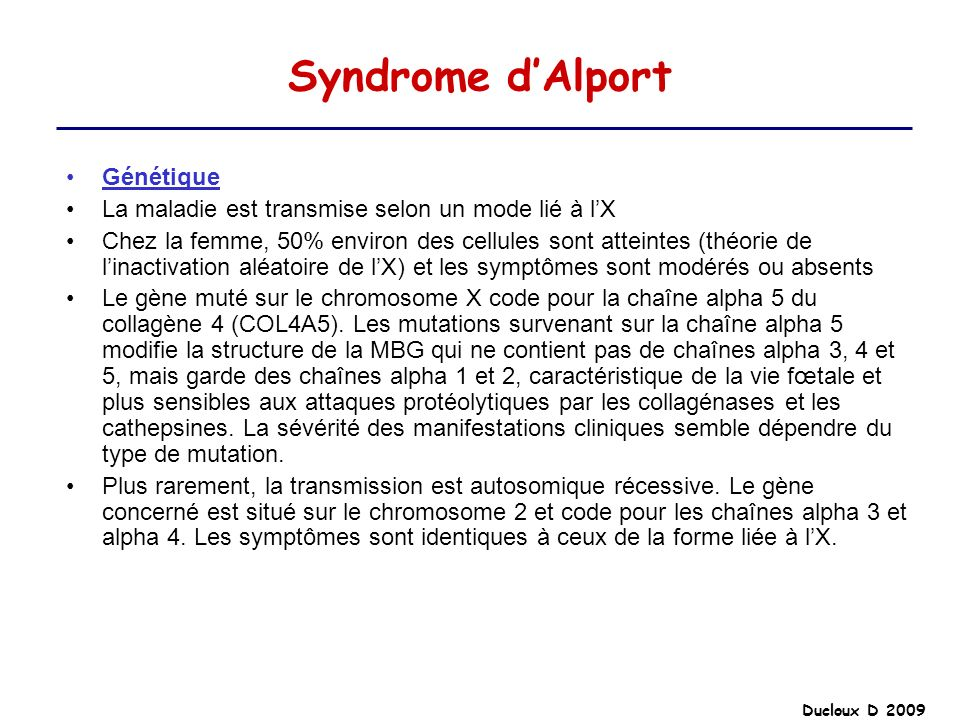 Syndrome d'Alport Génétique