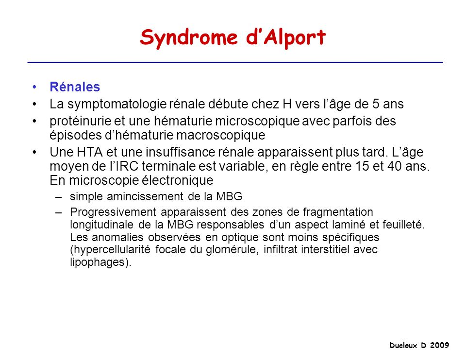 Syndrome d'Alport Rénales